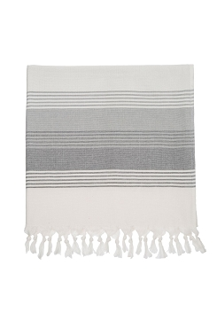 Milazzo Stripe Fouta Beach Towel - Grey