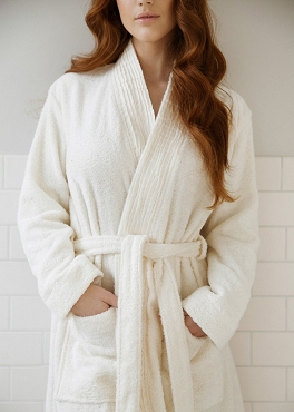 Pleated Turkish Cotton Robe - White